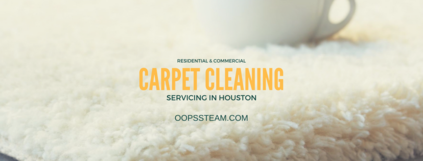 carpet cleaning service featuring a white rug and a cup of coffee