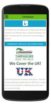 Mobile View Clemishaws Tarpaulins on Bury Website