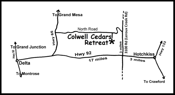 Map to Colwell Cedars Retreat in Delta County, Colorado, USA.