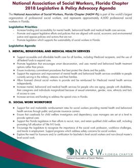 2018 NASW-FL Legislative Agenda