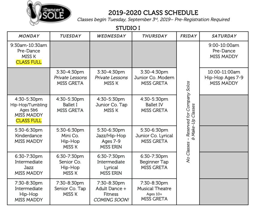 Tds Class Schedule 2019 20