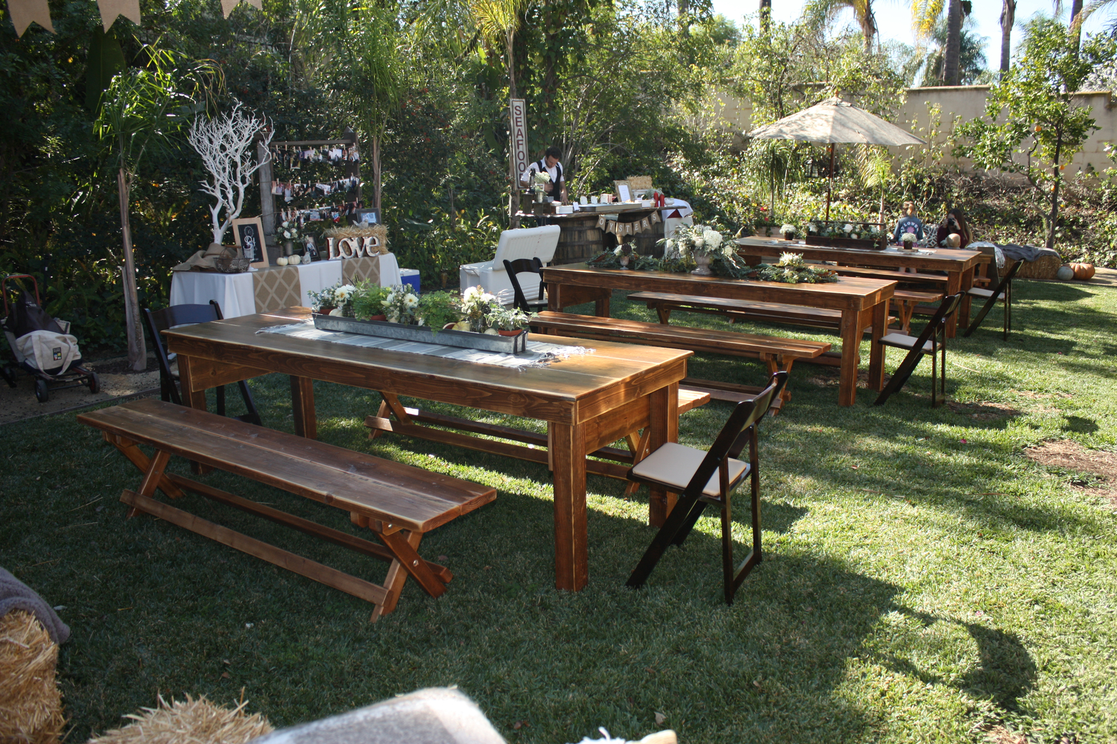 rustic parties farmhouse tables wedding and party rentals for