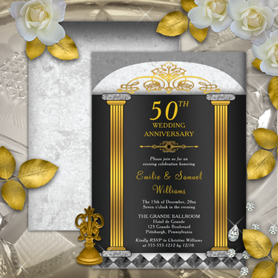 Elegant black, gray and gold tone columned baroque look 50th wedding anniversary invitations