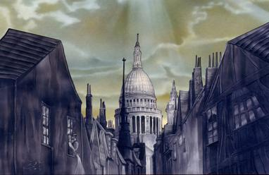 Dickensian LONDON, ENGLAND. Acrylic on board by CLIFF CARSON