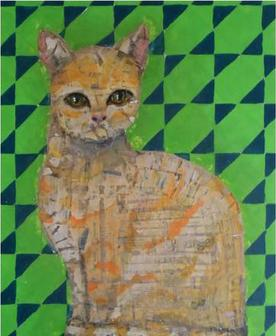 A painting of a cat by Kelly Nicole Olszyk.