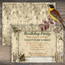 rustic woodsy birds fall or winter birthday party invitations for him