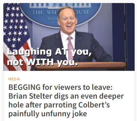 BEGGING for viewers to leave: Brian Stelter digs an even deeper hole after parroting Colbert's painfully unfunny joke