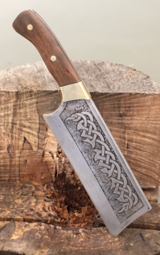 Custom made metal etched Celtic Cleaver. Free step by step instructions. www.DIYeasycrafts.com