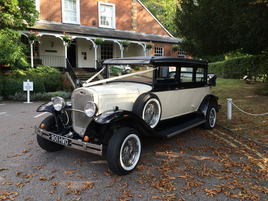 Bramwith Landaulette vintage style limousine wedding car in black and ivory - Essex Wedding Cars