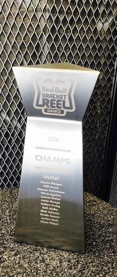 Red Bull stainless steel trophy with laser engraving BLACK LABEL METAL - Metal Fabrication, Waterjet cutting and Powdercoat - Hillsboro Oregon