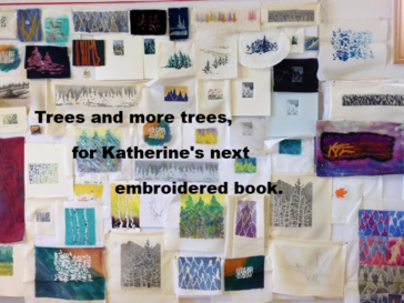 Two-thirds of Katherine Colwell's art trees for her embroidered Big Trees Collection