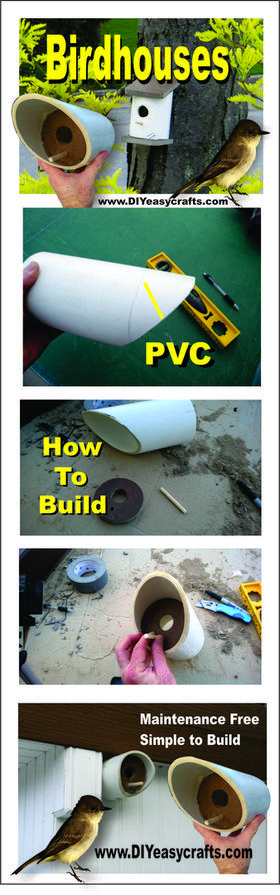 How to build a easy DIY PVC birdhouse. www.DIYeasycrafts.com