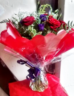 Red and Purple Luxury Rose Hand Tied | The Little Flower shop | Florist London delivery