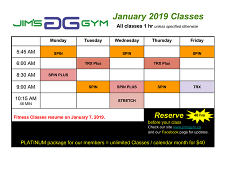 January 2019 Fitness Class Schedule
