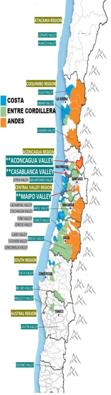Map of all the Chilean Wine Regions