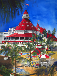 Hotel Del Coronado, Tracy Harris Watercolor Artist, Limited Edition Giclee Available