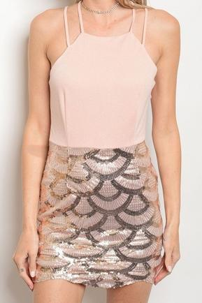 Pink Sequin Scallop Dress