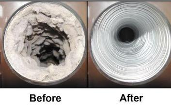 Before dryer vent cleaning and after dryer vent cleaning photos