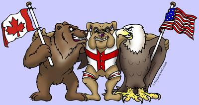 cartoon animals Canadian bear English bulldog American eagle