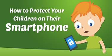 Link to smartphone safety cartoon image of child holding phone
