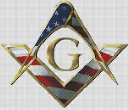 Cross Stitch Chart Pattern of Freemasons Logo in Stars n Stripes