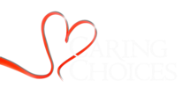 Red heart logo with text caring choices