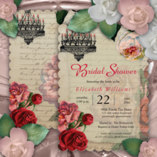 Romantic Vintage French Ephemera and Roses Bridal Shower Invitations