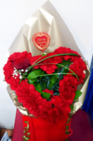 Luxury Valentine's Heart Shaped Red Carnation Bouquet