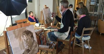Greg Mason teaching painting at Hope Hall Arts