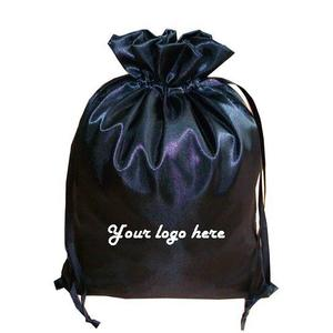 Black satin bag for hair