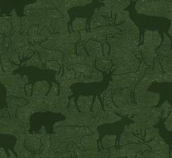 Green Animal Silhouette Flannel Woodland Retreat