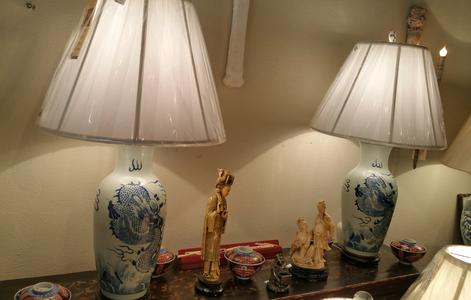 Pair of Chinese Blue and White Dragon Table Lamps new with White silk shades