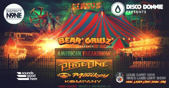Disco Donnie Presents and Sounds Good Here brings you: Bear Grillz American Freakshow at District 9 featuring PhaseOne, Dirt Monkey, Kompany. - BUY TICKETS: http://bit.ly/2wusUQM - Laser Show by Louis Capet XXVI - www.LaserLightShow.ORG - For more information visit: discodonniepresents.com or districtn9ne.com - Genre: #Bass, #Dubstep, #DrumandBass, #FutureBass, #Trap - FACEBOOK EVENT: www.facebook.com/events/262453817583931 District N9NE 460 N 9th St Philadelphia, PA