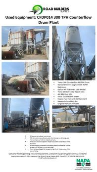 • Terex E300 Counterflow 300 TPH Drum. • Standard Havens Magnum 55K ACFM Baghouse • Gencor AF-75 Burner, 1980 Model • Three 200-ton Cedar Rapids silos • 400 BBL Dust Silo • 4'x10' Double Deck Screen • Heatec Fuel Tank with Containment • Maxam Inclined RAP Bin • Original Manuals Included