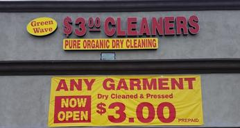 $3.00 Any Garment Dry Cleaned