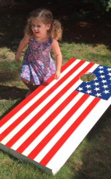 How to easily make an American Flag themed patriotic Corn Hole Yards game board set. FREE step by step instructions. www.DIYeasycrafts.com