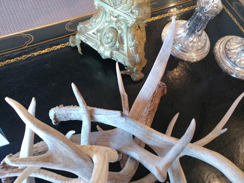 House of Tuscany deer Horns antlers metal european vintage antique silver plated candle sticks black table gold filigree furniture House of Tuscany