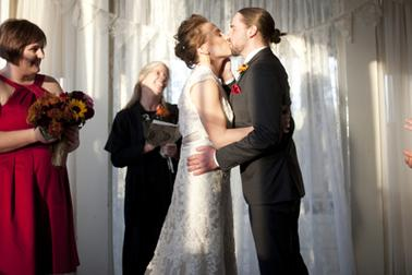 Marriage Ceremony kiss at Columbia Manor in Minneapolis
