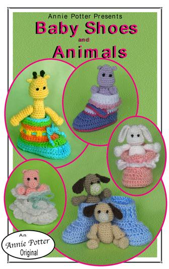 Crochet baby booties ans animal patterns