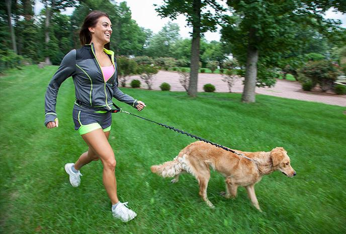 Life Style Photo shoot of woman walking dog