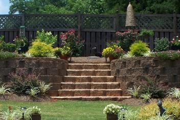 Large Landscape Concrete Block Retaining Wall