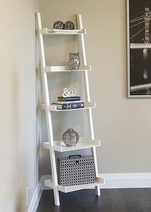 Office - white styled staged ladder shelf