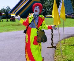 Clown and Balloon Artist at a Nashville Company Picnic. Inflatable Slide in background.
