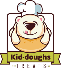 Kid-doughs company logo depicting delicious bakery treats in Miami, FL.