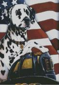 Cross Stitch Chart of Fire Department Dalmatian with Helmet and US Flag