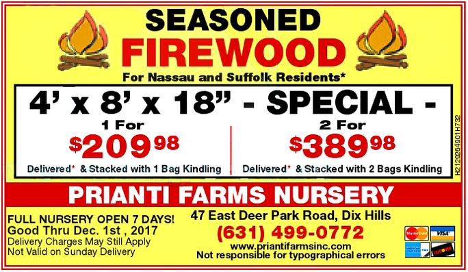 Prianti Delivery Firewood Long Island Seasoned Sale Specials