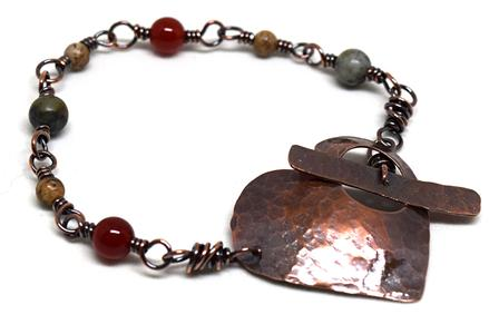 Sleepy Cat Jewelry copper heart toggle bracelet