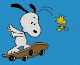 Cross Stitch Chart of Snoopy and Woodstock Skateboarding