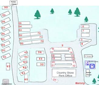 Country Gardens RV Park site map