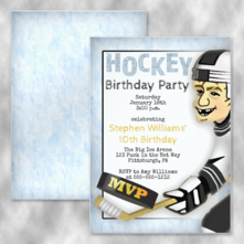 MVP Hockey Player Birthday Party Invitations